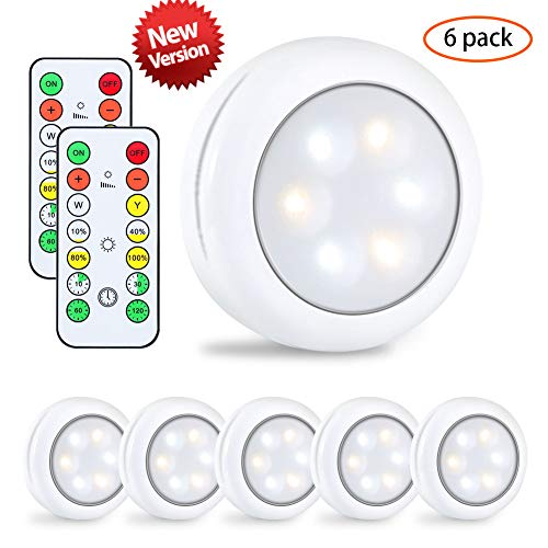 Schrankleuchte,lunsy LED Schrankleuchte mit Fernbedienung, 4-Dimmstufen Runde Berühren Unterschrank Beleuchtung,6er- Batteriebetriebene Lampe für Schlafzimmer/Kleiderschrank usw -