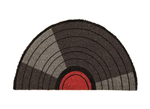 Fisura DM0803 Felpudo Entrada Casa Original y Divertido 70x40 cm Antideslizante, PVC, Coco, Vinilo Vintage Musical Semicircular