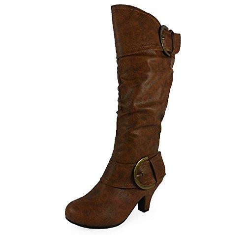 Loudlook Nouveau Dames Femmes Mi-Mollet Boucle Pixie Mode Rouched Bottes Chaussures Taille 3-8 brown pu