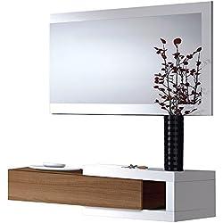 Recibidor con cajón + espejo, medidas 19 x 95 x 26 cm (Blanco Brillo y Nogal)