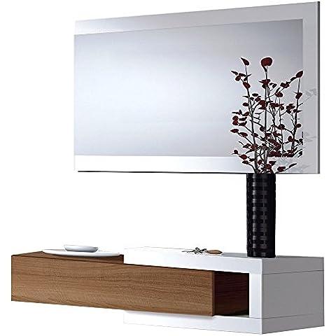 Habitdesign - Recibidor con cajón + espejo, medidas 19 x 95 x 26 cm de fondo (Blanco Brillo y