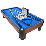 PLAY4FUN Billard de Table avec Accessoires - Kit Billard Compact de Bureau ou Salle de Jeu, 102 x 51 x 22.5 cm - Marron et Tapis Bleu