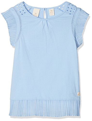 Scotch & Soda R´Belle Mädchen T-Shirt Jersey Top with Pleated Woven Ruffles, Blau (Skylight 2045), 128 (Herstellergröße: 8) (Belle Jersey-t-shirt)