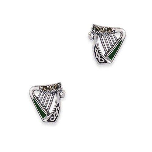 arpa-celta-plata-stud-pendientes-con-piedras-de-marcasita-y-esmalte-verde
