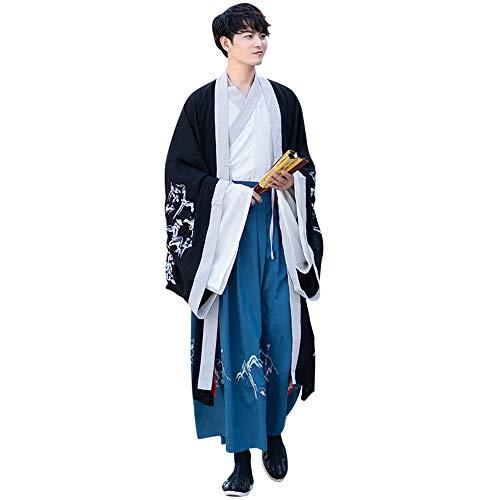 YCWY Frauen und Männer stickten Kleid, Landschaftsdrucken-chinesischer Chiffon- Weinlese-Langarm-Hanfu für Partei, Halloween-Cosplay-Kostüme,M