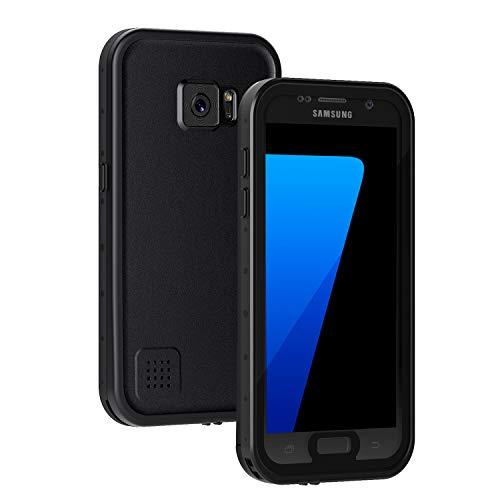 Lanhiem für Samsung Galaxy S7 Hülle, IP68 Zetrifiziert Wasserdicht Handy Hülle 360 Grad Schutzhülle, Stoßfest Staubdicht und Schneefest Outdoor Schutz mit Eingebautem Displayschutz - Schwarz