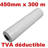 Stretchfolie für Palette Weiß 450mm x 300Meter für Palette-Displayschutzfolie préétiré Verpackung Handbuch weiß Set 1Rolle