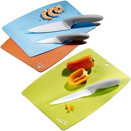6 tlg Koch Küchen Keramik Messerset Schneidebretter Allzweckmesser Schälmesser, Schneidebretter, Keramikbeschichtete Messer sind scharf und eignen sich ideal auf Partys, Camping, Ausflüge, Garten