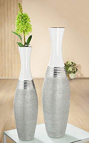 GILDE Keramik Bodenvase Lucente Silber/Weiss Glas iert mit Struktur L = 18 x B = 18 x H = 80 cm