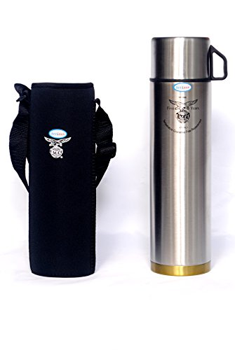 Arrison Eagle Gold Sleek 1000ml Steel Flask With Pouch-Bag (5 year guarantee)+ Brush  available at amazon for Rs.1249