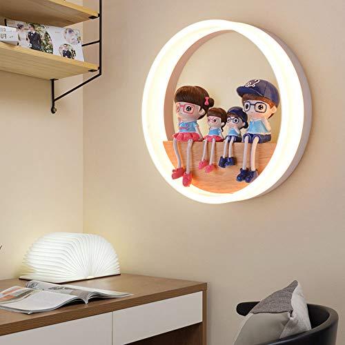 Modern 18W Wandleuchte LED Innen Wandlampe Rund Ring Holz und Acryl Weiss Designer Wandbeleuchtung für Schlafzimmer Nachtwand Kinderzimmer Familie Dekorativ Wandlicht,3000K Warm Licht