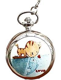 Infinite U Gato y Pez Esmaltado Grande Reloj de Bolsillo Cuarzo con Espejo Números Arábigos Plateado