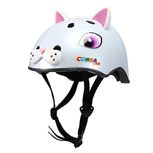 Babimax Kinder Fahrradhelm 3D Niedliche Tiere Design S (Weiß Katze)