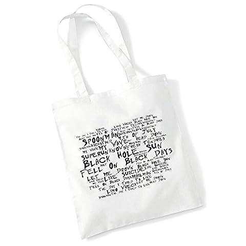 Art Studio Tote Bag - SOUNDGARDEN - Superunknown - Noir Paranoiac - Music Lyrics Album Art Print Poster Beach Gym Festival Shopper (Alternative Christmas Records)