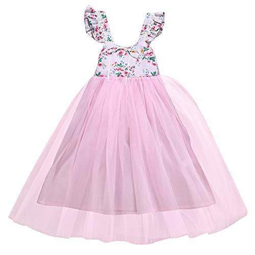 Chennie Baby Mädchen Prinzessin Blumenkleid Tutu gekräuselten Ärmel Bowknot Hochzeit Rosa Netzkleid 1-7Years (Color : Pink, Size : 4-5T)