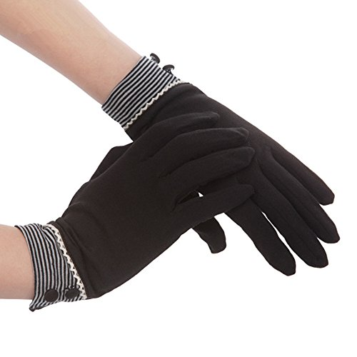 Kenmont Summer Women Sun Uv Protection Outdoor Solid Color Cotton Driving Gloves (Black)