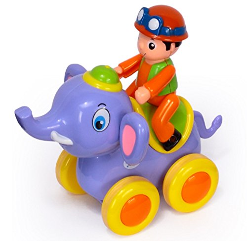 RIANZ Baby Toys Figure Pull Back Cartoon Car Toy Push and Go Friction Powered Animal Cars Fun Toys for Children 1PC (Elephant)