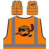 Smiley Ice Hockey Face Nouveauté Drôle Vintage Art Veste de protection orange personnalisée à haute visibilité a315vo