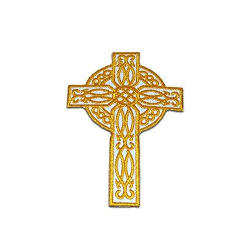 Aufnäher/Bügelbild - Kreuz Christuskreuz Religion - gelb/weiß - 9,5x6,2cm - by catch-the-patch Patch Aufbügler Applikationen zum aufbügeln Applikation Patches Flicken