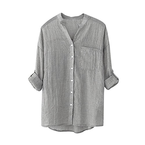 FNKDOR Spring Office Women Cotton Solid Long Sleeve Shirt Casual Loose Blouse Button Down Tops
