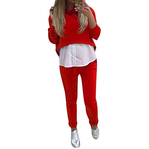 FIRSS Frauen Patchwork Mit Kapuze Trainingsanzug Einfarbig Fitnesshose Jumpsuit Freizeit Kapuzenpullover Casual Jogginganzug Tops Hosen Sport Yoga Outfits