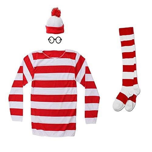 Hilary Ella Where e's Waldo Kostüm, Halloween-Kostüm, lustiges Sweatshirt Outfit, Brille - Rot - Frau-XX-Large (Where's Waldo Kostüm Kind)