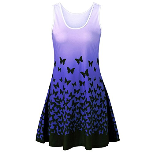 Yanhoo Heißer Verkauf !!! Lady Butterfly Print Farbverlauf ärmelloses Party Kleid Retro Casual Dress (Helles Lila, S) (Tank Shirt Top Butterfly)