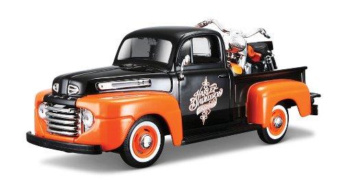 maisto-532180-modellino-harley-davidson-ford-f-1-pickup-48-e-flh-duo-glide-58-scala-124