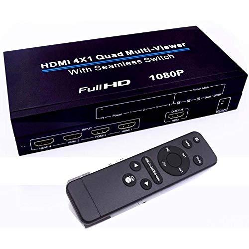 HDMI 4x1-Switch Quad Multi-Viewer-Splitter Ultra-mit Seamless Switcher HD Video 1080P konform mit HDMI 1.3a HDCP 1.2, EU Quad Video Splitter