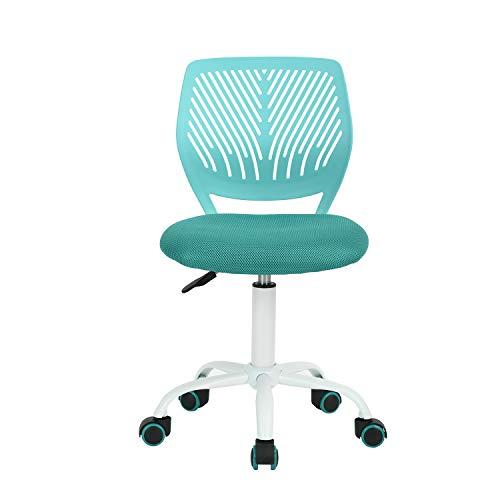 FurnitureR UK Bürostuhl, drehbar, verstellbar, Armlos, mit Kreuzstern-Mittellehne, Computer-Schreibtischstühle - türkis