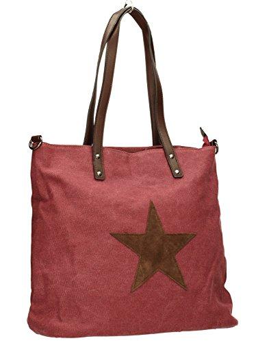 Swankyswans Damen Lauren Star Canvas Medium Schultertaschen, Einheitsgröße Red (Burgundy)
