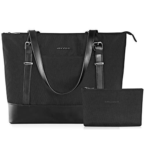 KROSER Laptop Damen Handtasche Schwarz Handtaschen Elegant Taschen Shopper Reissverschluss Frauen Handtaschen 15,6 Zoll Große Leichte Nylon Stilvolle Handtasche für Business/Schule/Reisen-MEHRWEG -