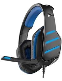 Auriculares para Juegos PC con Micrófono Estéreo Cinta Cómoda Control Remoto Doble Enchufe Auriculares Esport