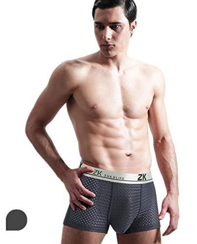 HuntDream Mens Ice Silk Boxer Mesh Unterwäsche Pack von 3, grau