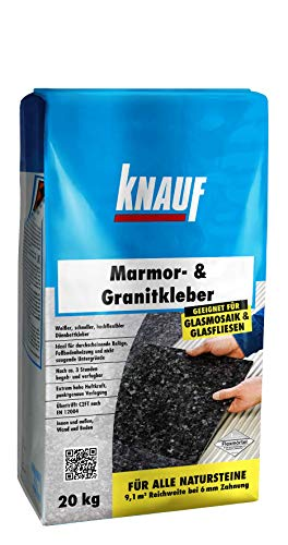 Knauf Marmor- & Granitkleber 20-kg - Marmor-Klebstoff und Fliesen-Kleber zum Verlegen von Natursteinen, Glas-Fliesen, Glas-Mosaik und Marmor, innen und außen