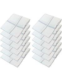 S4S Men's 100% Cotton Premium Collection Luxury Handkerchiefs - Pack of 12 (White with Subtle Color_46X46 CM)