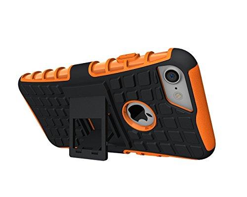 iPhone 8Coque, Apple iPhone 8Coque EAL® [fin], légers, Heavy Duty Tough Armour résistant aux chocs Coque avec béquille [Coque de protection] avec surfaces non Glissantes pour une excellente prise en Orange