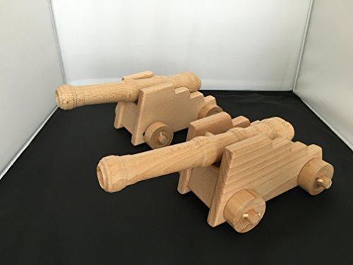 Lot de 2 superbes Canons de gallion ou de forteresse - en bois sur roulettes - Artisanat Véritable