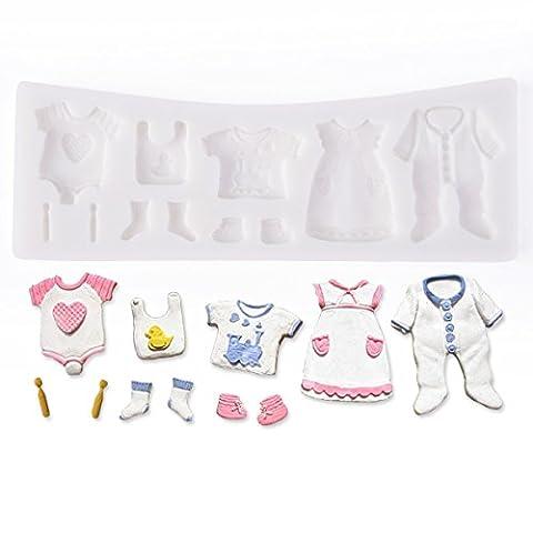 Musuntas 11 trous vêtements de bébé en silicone Cookie Cutter Fondant Cake Decoration Baptême