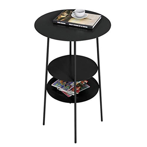 Tavolino creativo doppio strato tavolino, soggiorno multifunzione decorazione tavolino divano lato mobile angolo tavolo camera da letto ferro da stiro arte piccola tavola rotonda fiore stand,black
