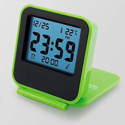 Moderne Snooze Wecker LED-Digital-Desktop-Uhr batteriebetriebene Reisewecker Thermometer 5 Farben,Grün