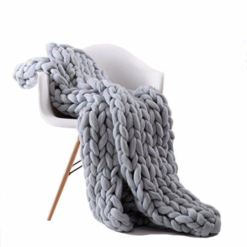 100% Merinowolle Decke handgewebte Chunky Knitted Decke sperrige Throw für Sperrige Sofa Soft...