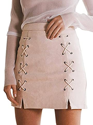 Simplee Apparel Women's High Waisted Lace Up Slit Pencil Bodycon Suede Short Mini Skirt Pink