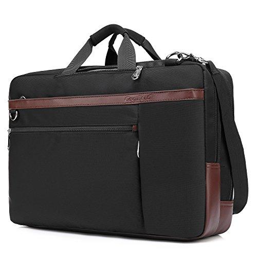 UtoteBag Umwandelbar Laptoptasche Laptop Schultertasche Umhängetasche Nylon Messenger Bag Businesstasche Dienstreise Aktentasche für 17,3 Zoll Laptop Notebook (Schwarz)