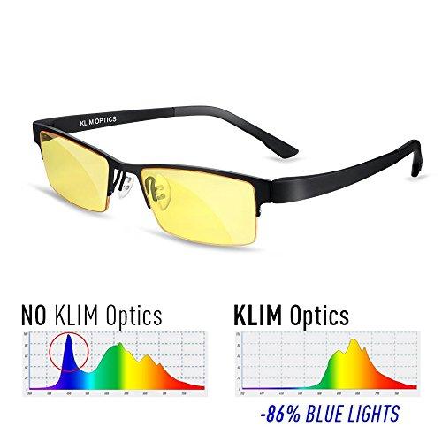 KLIM Optics - Gafas para Bloquear la Luz Azul Alta Protección para Pantalla - Gafas Gaming para PC, Móvil, TV, Tablet - Evita la Fatiga Ocular - Anti UV, Anti Luz Azul - Filtro Luz Azul