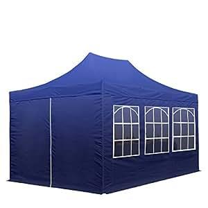 Faltpavillon Faltzelt Pavillon Klappzelt 3 x 4,5 m - mit Seitenteilen - 100% wasserdicht - ca. 300g/m² Dachplane aus Hochleistungspolyester mit PVC-Beschichtung + Stahlgestänge - Partyzelt Gartenzelt Sonnenschutz Markstand Popup, in blau