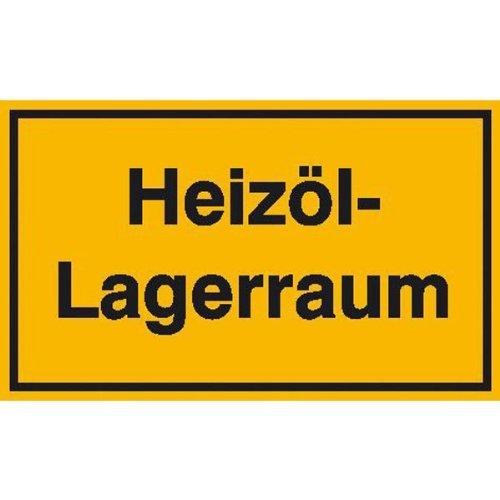 INDIGOS UG - Heizöl-Lagerraum Hinweisschild zur Betriebskennzeichnung, Alu-Dibond 25x15 cm - Warnung - Sicherheit - Hotel, Firma, Haus