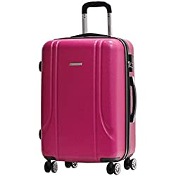 Valigia Formato M 65 centimetri -Trolley ALISTAIR Smart - ABS ultra leggero - 4 ruote - Rosa
