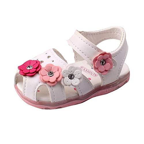 feiXIANG Mädchen Sandalen Hohl Babyschuhe Blumen Kleinkind krippe Schuhe Klettverschluss Römersandalen (Weiß,22CN=21EU) - Weiße Krippe Schuhe
