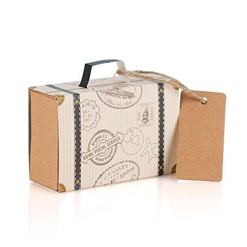 Wolfteeth 100 pz scatoline scatole portaconfetti viaggio valigia carta kraft regalo bomboniere per festa anniversario laurea